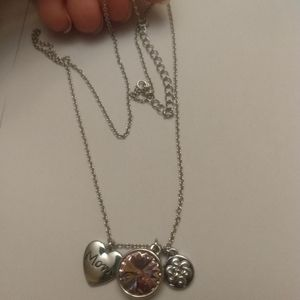 Silver toned mom necklace heart detailing